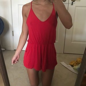 Pants - red thin strap romper